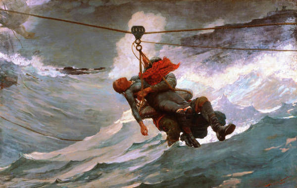 Blast Wave Wall Art - Painting - The Life Line - Digital Remastered Edition by Winslow Homer