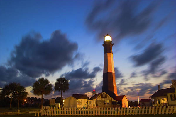 Tybee Island Photograph - The Lighthouse At A Cloudy Night by Jung-pang Wu