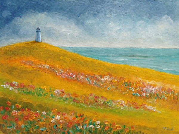 Painting - The Lighthouse Meadow by Angeles M Pomata