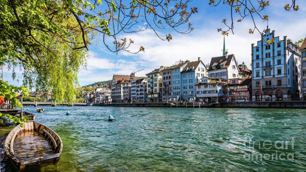 Photograph - The Limmat River, Zurich by Lyl Dil Creations