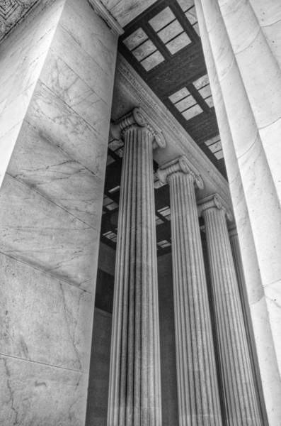 Photograph - The Lincoln Memorial Washington D. C. - Black And White Abstract Pillars Details 3 by Marianna Mills