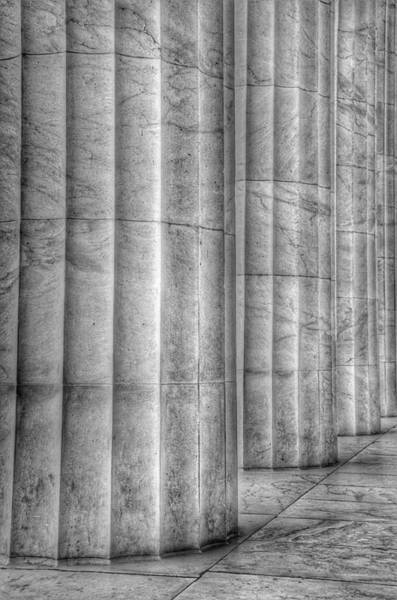 Photograph - The Lincoln Memorial Washington D. C. - Black And White Abstract Pillars Details 4 by Marianna Mills