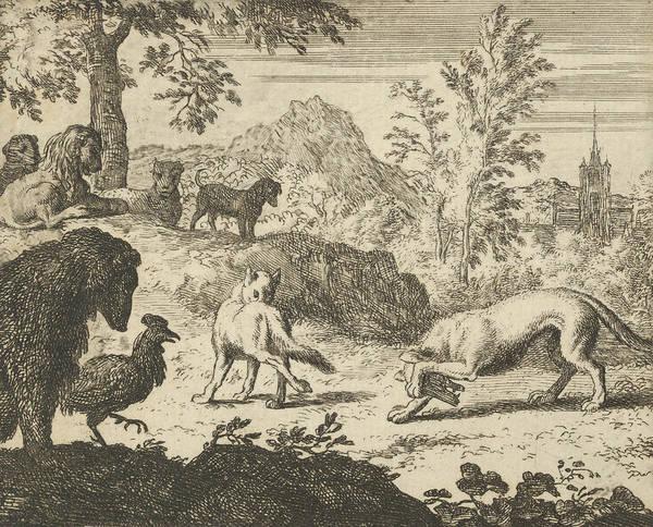 Relief - The Lion Allows A Fight Between The Wolf And Renard From Hendrick Van Alcmar's Renard The Fox by Allaert van Everdingen