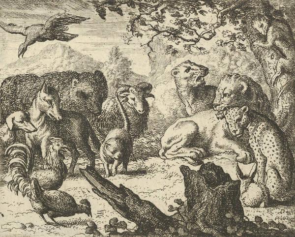 Relief - The Lion Announces A Durable Peace To The Animals Who Surround Him by Allaert van Everdingen