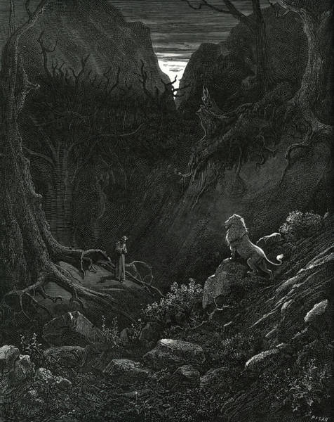 Death Valley Painting - The Lion From The Divine Comedy By Dante by Gustave Dore