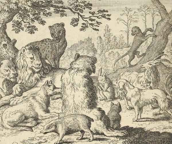 Relief - The Lion Orders All The Animals To Follow Him To Renard's Burrow by Allaert van Everdingen
