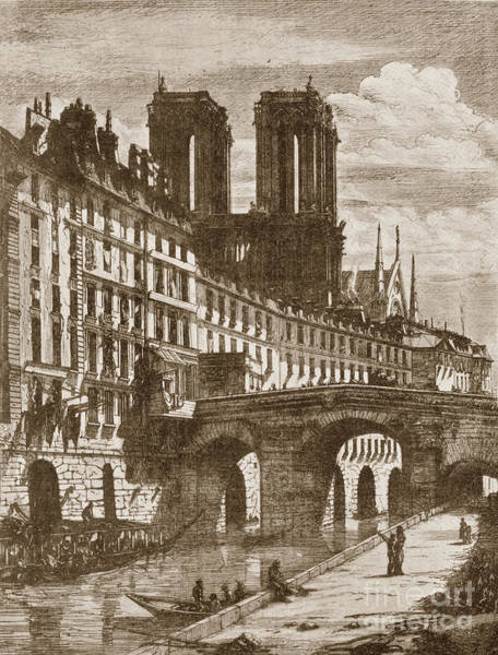 Photograph -  The Little Bridge Paris, France By Charles Meryon 1821-1868 by California Views Archives Mr Pat Hathaway Archives