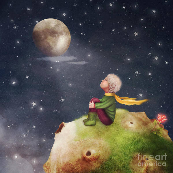 Magic Wall Art - Digital Art - The Little Prince With A Rose On A by Natalia maroz