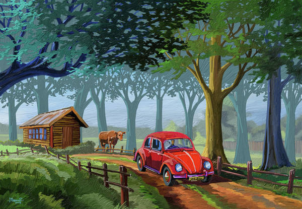 Historic Car Painting - The Little Red Beetle by Anthony Mwangi
