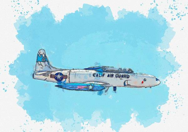 Wall Art - Painting - The Lockheed T-33 Shooting Star Watercolor By Ahmet Asar by Celestial Images
