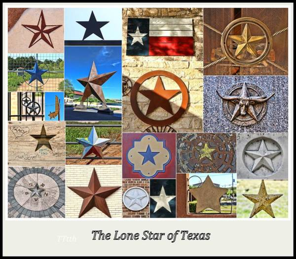 Wall Art - Photograph - The Lone Star Of Texas Collage by Allen Beatty