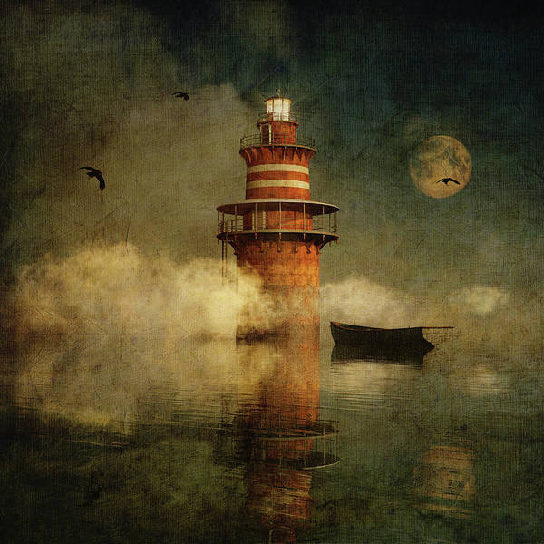 Digital Art - The Lonely Lighthouse In The Fog With Full Moon by Jan Keteleer