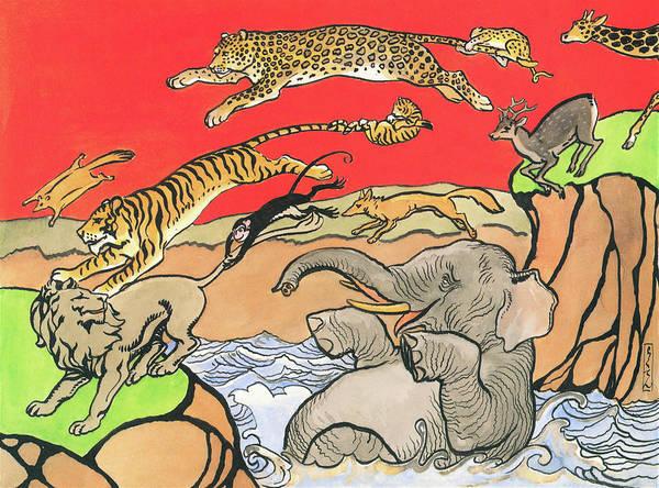Wall Art - Painting - The Long Jump Of Animals - Digital Remastered Edition by Kitazawa Rakuten
