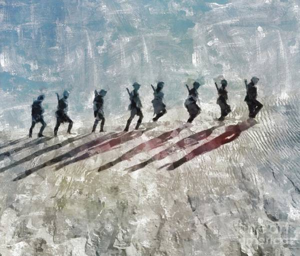 Wall Art - Painting - The Long Walk, World War Two by Mary Bassett