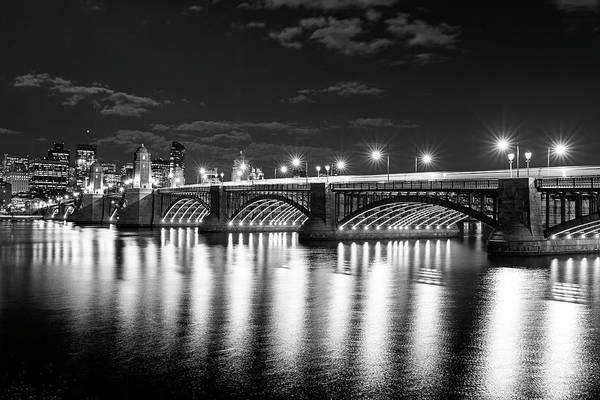 Photograph -  The Longfellow Bridge Lit Up At Night Boston Ma Black And White by Toby McGuire