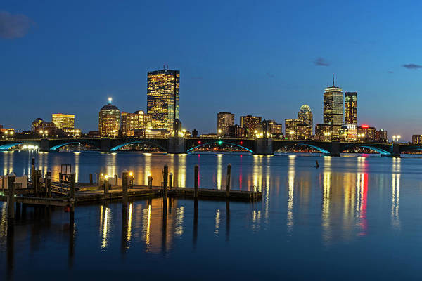 Photograph - The Longfellow Bridge Lit Up At Night Boston Ma Reflection Pier by Toby McGuire