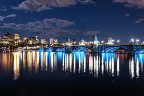Photograph - The Longfellow Bridge Lit Up At Night Boston Ma Reflection by Toby McGuire