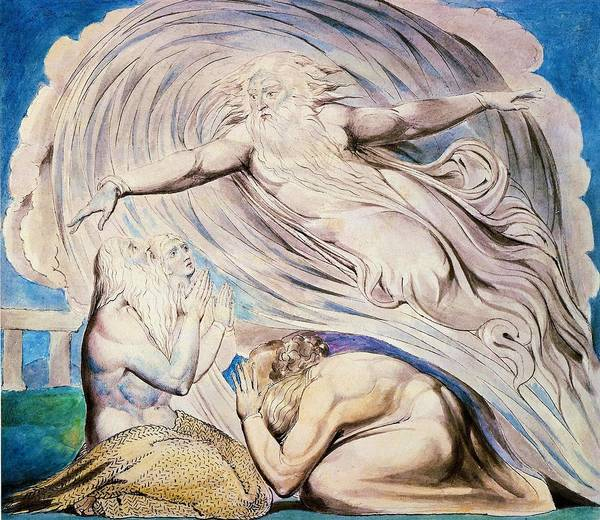 Wall Art - Painting - The Lord Answering Job Out Of The Whirlwind - Digital Remastered Edition by William Blake