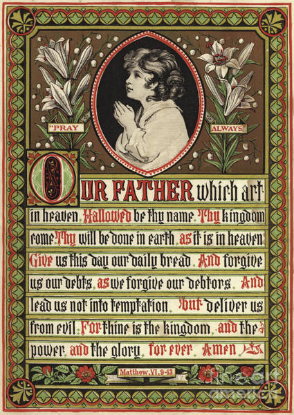 Wall Art - Drawing - The Lords Prayer, With The Lines Of The Prayer Ilustrated With An Image Of A Child In Prayer by English School