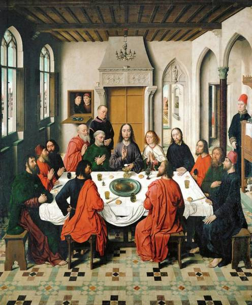 Wall Art - Painting - The Lord's Supper. Oil On Canvas -1468- 150 X 180 Cm. by Dieric Bouts -1415-1475-