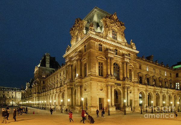 Wall Art - Photograph - The Louvre Paris France At Night Architecture by Wayne Moran
