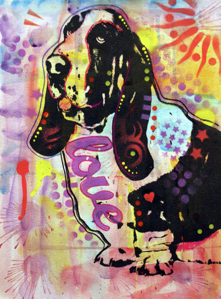 Wall Art - Painting - The Love Basset by Dean Russo Art
