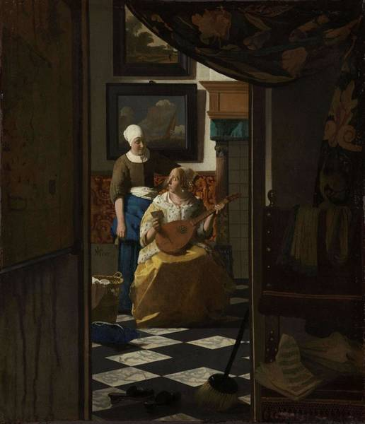 Wall Art - Painting - The Love Letter. by Jan Vermeer -1632-1675-
