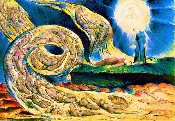 Wall Art - Painting - The Lovers' Whirlwind, Francesca Da Rimini And Paolo Malatesta - Digital Remastered Edition by William Blake