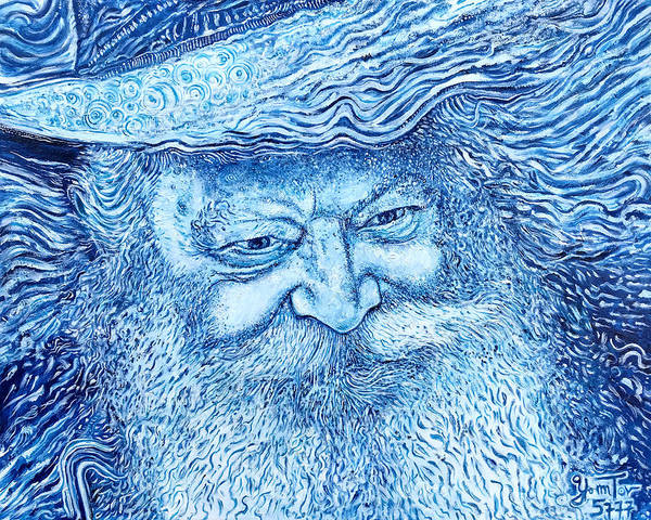 Painting - The Lubavitcher Rebbe Blue by Yom Tov Blumenthal