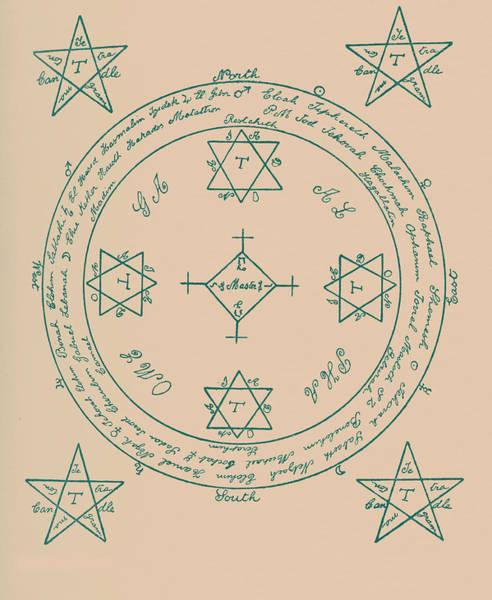 Black Magic Drawing - The Magic Circle by English School