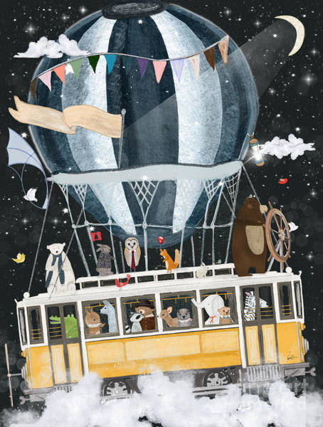 Wall Art - Painting - The Magical Flying Tram by Bri Buckley