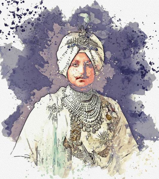Painting - The Maharaja, Bhupinder Singh, Of Patiala In The Punjab Region Of India, 1911 Watercolor By Ahmet As by Celestial Images