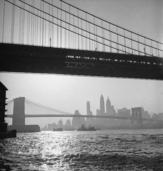 Photograph - The Manhattan & Brooklyn Bridges by Andreas Feininger