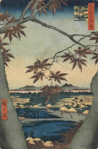 0 Painting - The Maple Trees At Mama, Tekona Shrine And Tsugi Bridge, From The Series One Hundred Views Of Fam... by Utagawa Hiroshige