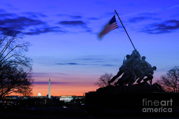 Wall Art - Photograph - The Marine Corps War Memorial At by Jason Odell