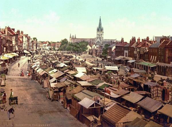 Painting - The Market, Yarmouth, England, Ca. 1890-1900 by Celestial Images