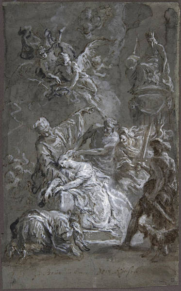 Drawing - The Martyrdom Of Saint Barbara  by Martin Johann Schmidt