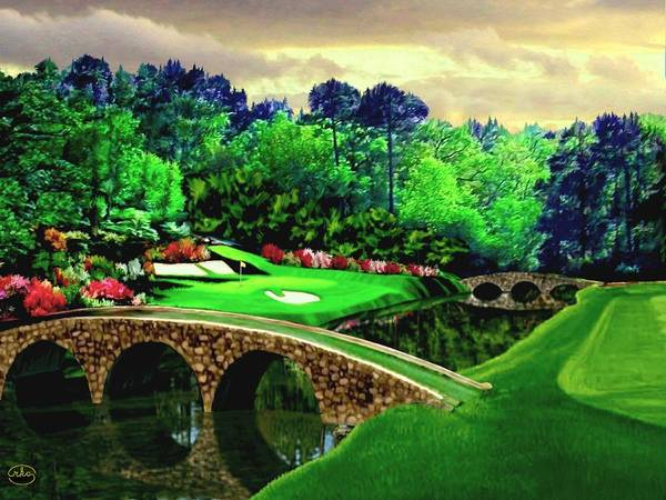 Pebble Digital Art - The Masters 12th Hole by Ron Chambers