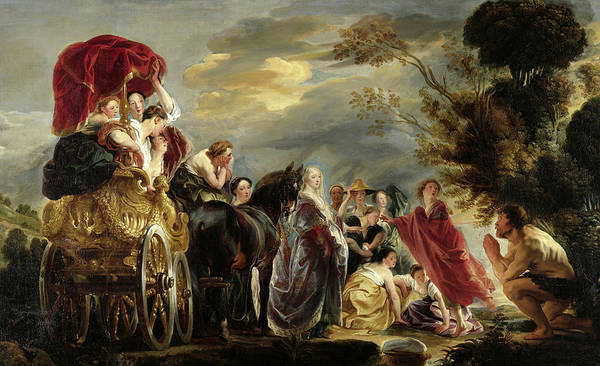 Odysseus Painting - The Meeting Of Odysseus And Nausicaa, 1640 by Jacob Jordaens