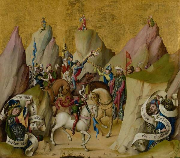 Wall Art - Painting - The Meeting Of The Three Kings With David And Isai  by Master of the St  Bartholomew Altarpiece