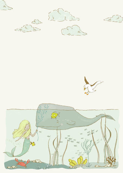 Wall Art - Digital Art - The Mermaid And The Whale - Upright by SharaLee Art