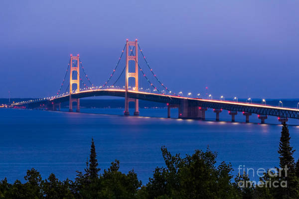 Blur Wall Art - Photograph - The Mighty Mackinac Bridge, Connecting by Kenneth Keifer