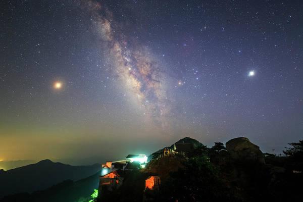 Photograph - The Milky Way Shines Above Mount Jiuhua by Jeff Dai
