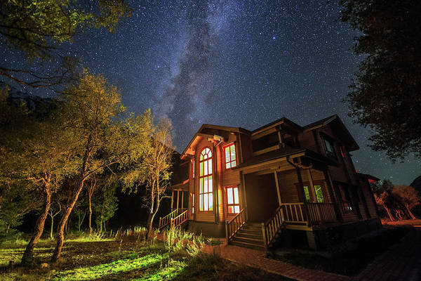 Wall Art - Photograph - The Milky Way Shining Above A Villa by Jeff Dai