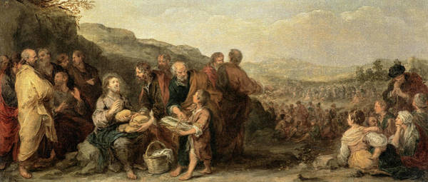 Creationism Wall Art - Painting - The Miracle Of The Loaves And The Fishes, 1682 by Bartolome Esteban Murillo