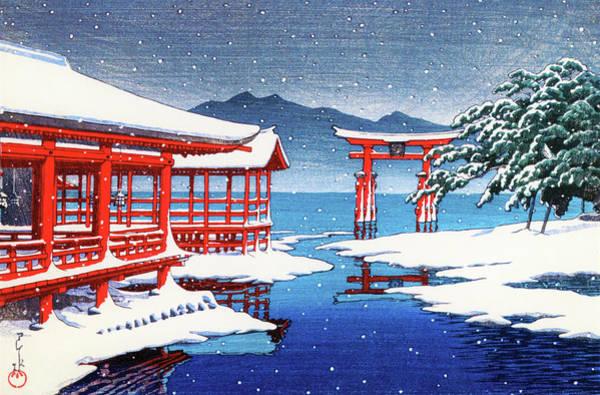 Wall Art - Painting - The Miyajima Shrine In Snow - Digital Remastered Edition by Kawase Hasui