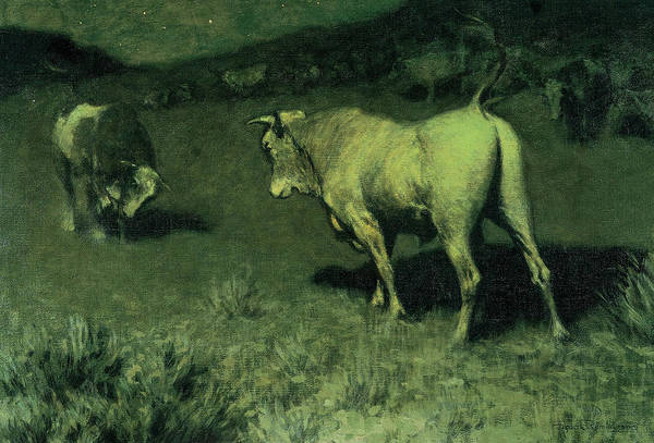 Wall Art - Painting - The Moaning Of The Bulls, 1907 by Frederic Remington