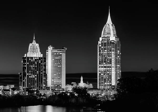 Photograph - The Mobile Skyline Black And White by JC Findley