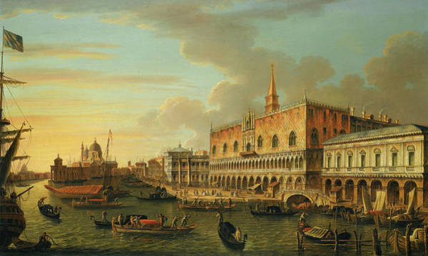 Wall Art - Painting - The Molo, Looking West, With The Ducal Palace And The Prison by Canaletto