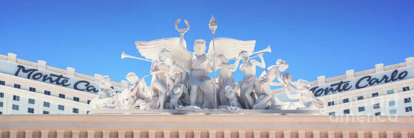 Cantina Photograph - The Monte Carlo Casino Las Vegas Entrance Statues 3 To 1 Ratio by Aloha Art